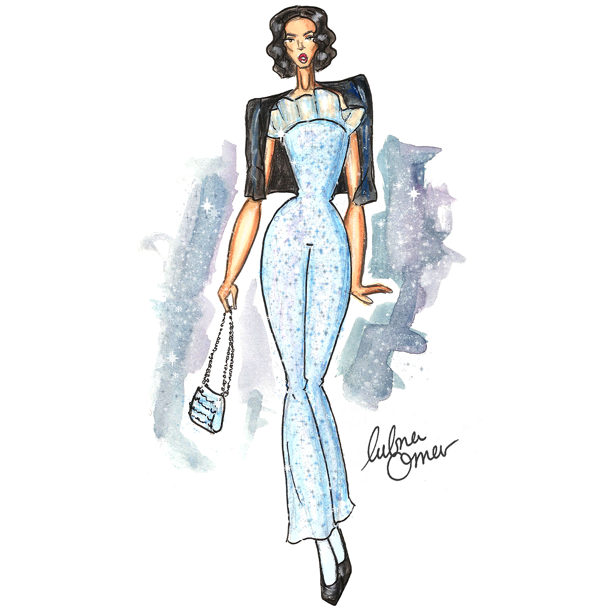 armani prive spring 2016 couture illustration by lubna omar