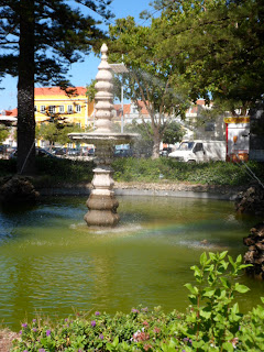 Fountain with a rainbow, Setubal Portugal