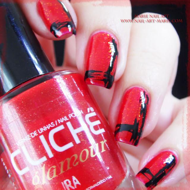 Nail Art Abstrait Rouge et Noir Facile6
