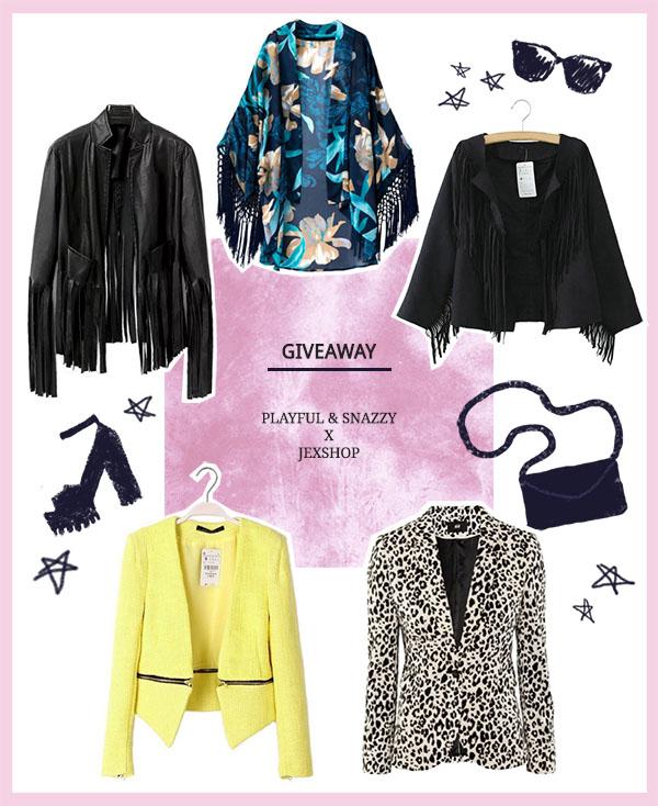 Shop At Jexshop, fashion giveaway, fashion blogger, clothes, freebies, jackets, blazers, kimono cardigan, floral, fringe faux leather jacket, yellow blazer, leopard blazer