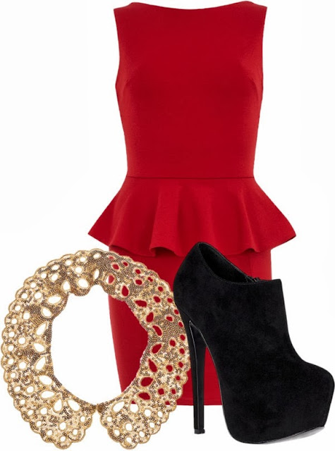 Adorable red dress and black high heel shoes for Christmas