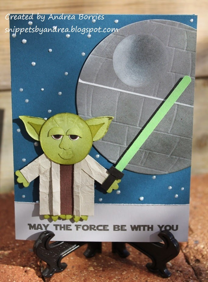 "Birthday card featuring a punch-art yoda, the Death Star and the sentiment ""May the force be with you."""