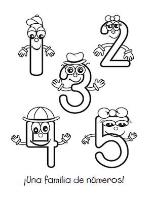 Familia de números del 1 - 5 para colorear - COLOREA TUS ...