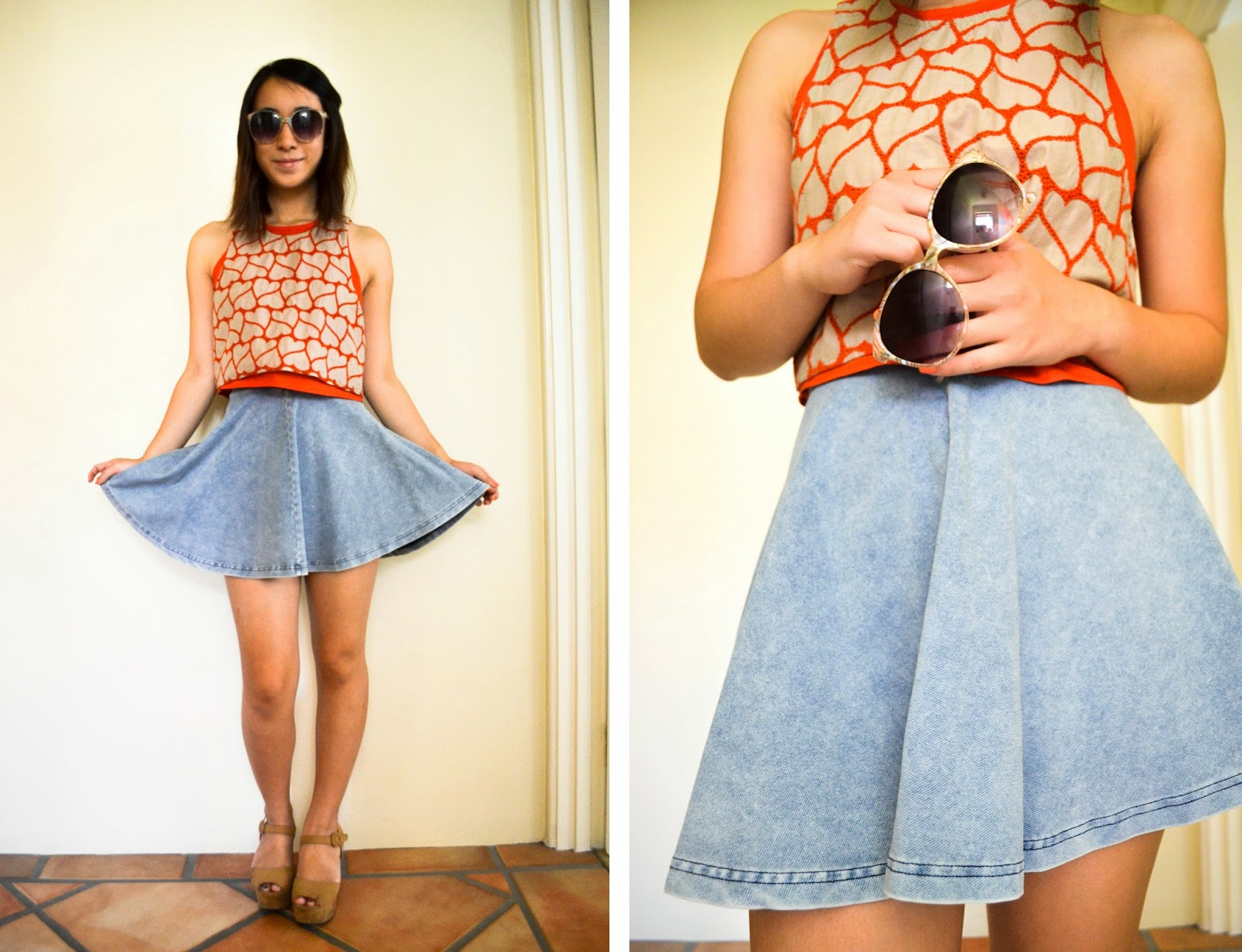 girly flirty date first picnic sunglasses how to style skater skirt skirts orange heart crop top denim flatforms nude shoes