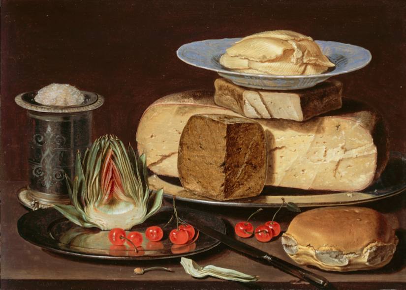 Clara Peeters (1594-after 1657) Still-Life with Cheese, Artichokes and Cherries, circa 1625