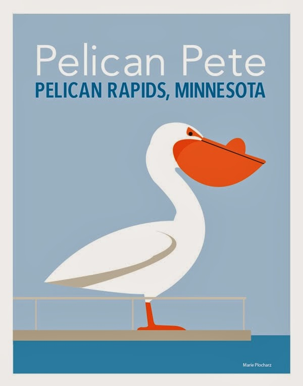 Pelican Pete Pelican Rapids Minnesota - MN Roadside Attraction Travel Poster