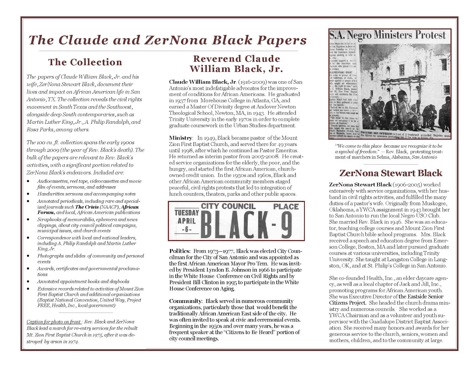 trinity university special collections and archives brochure for