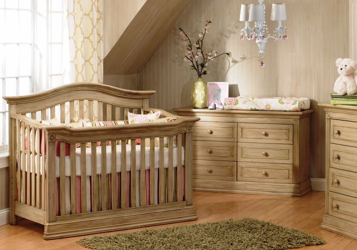 Unique Baby Nursery Furniture Sets Solid Rustic Wood Design Ideas With Beauty Lighting And Wooden Wall
