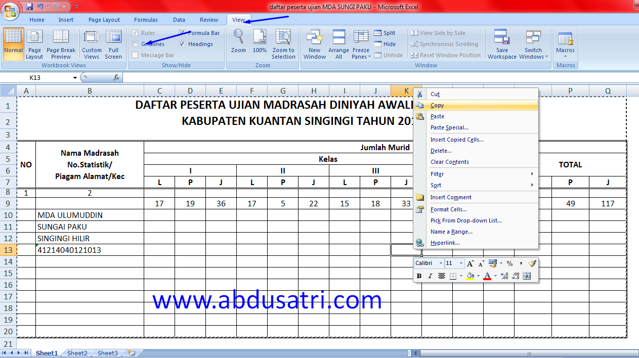 cara copy tabel excel ke pothoshop