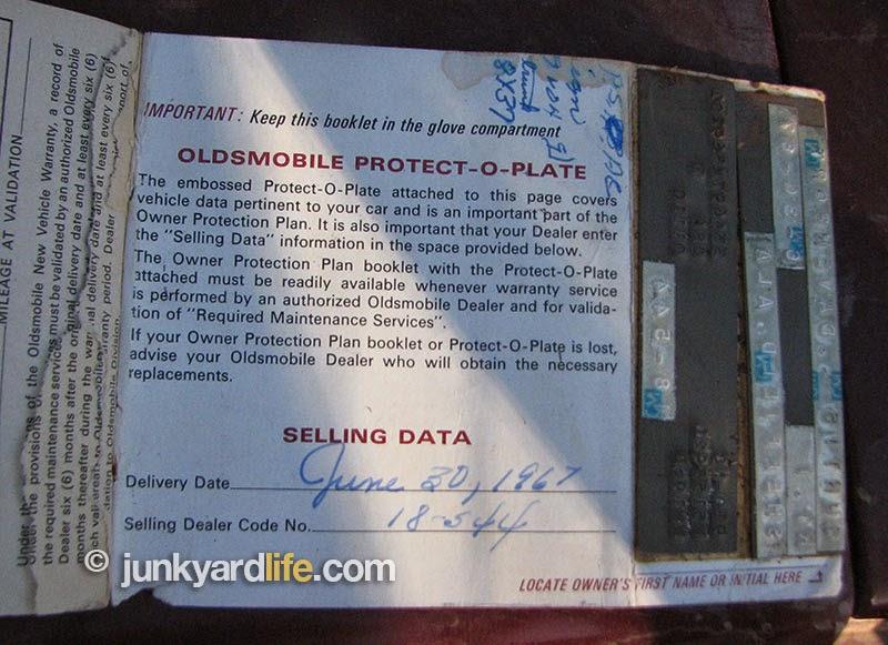 Original documentation in truck of 1967 Olds F-85