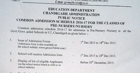 Government Model Senior Secondary School Sector 35 Chandigarh Nursery  Admissions 2016 17  Admission Forms Of Schools