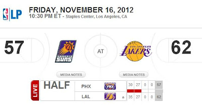 Half Time Score: Phoenix Suns 57 - LA Lakers 62