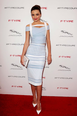 Miranda Kerr wearing head-to-toe David Koma from his Spring 2014 collection in Jaguar F-Type Global Reveal event