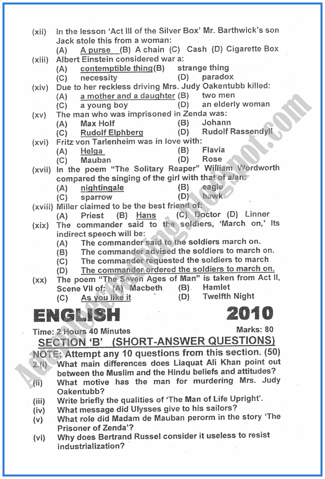English-2010-past-year-paper-class-XII