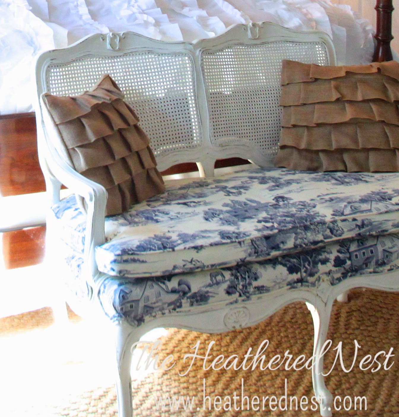 heathered nest guest room settee, country guest room, toile and burlap, burlap pillows, ruffle pillows