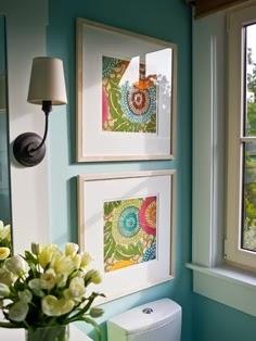 Designing Home: matted framed fabric art