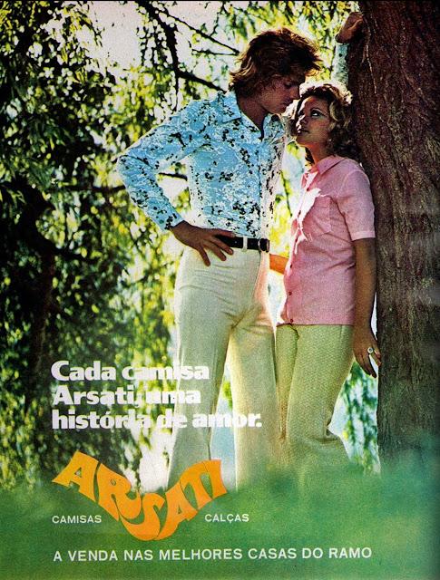 Propaganda da Arsati com suas calças e camisas para o começo dos anos 70.