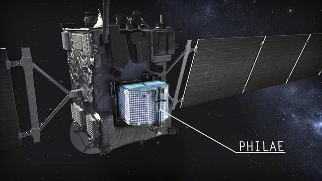 """Rosetta with Philae lander, before separation. Frame from the movie """"Chasing A Comet – The Rosetta Mission""""."""