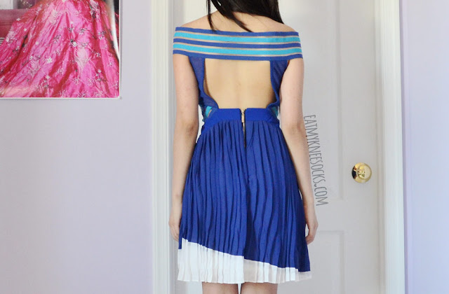 SheIn's Three Floor Ray of Light dupe dress features a sexy box cutout at the back, along with uneven chiffon paneling, color-blocked stripes, and mesh detailing.
