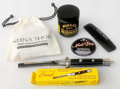 Paket Hemat Pomade Murray's Black Beeswax + Switchblade Comb (SB) + Pouch + Stiker + Sisir Saku