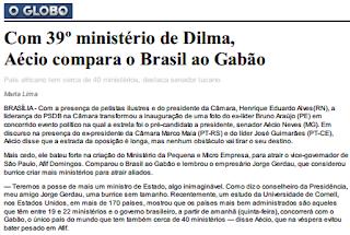 Aecio Neves Gabao 39 minisrio Aecio neves compara o Brasil a Gabão
