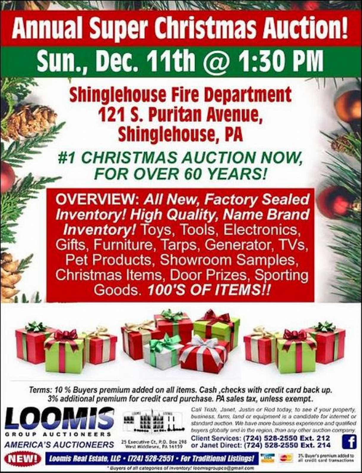 Loomis Shinglehouse Christmas Auction
