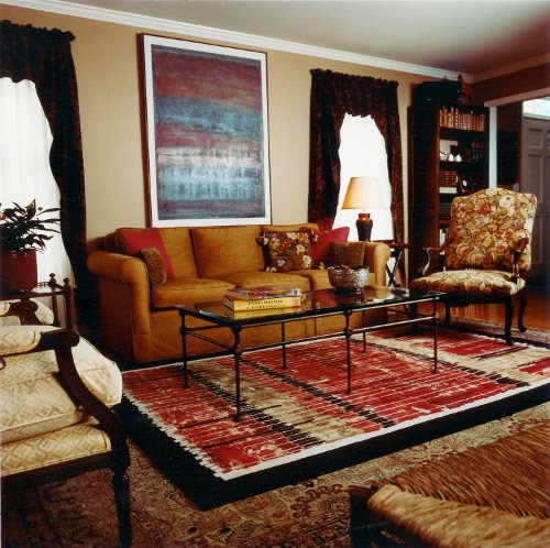 living room with antique rugs