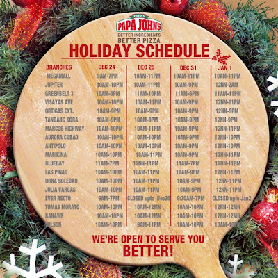 Papa John's Pizza Holiday Promo - until January 3, 2016