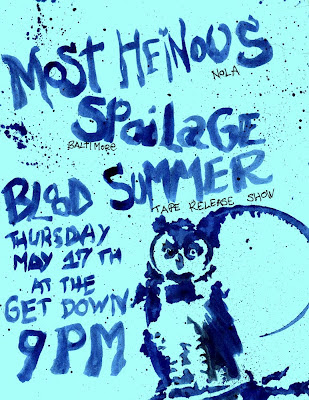 Blood Summer, Most Heinous, punk, flyer, poster, Blair Menace