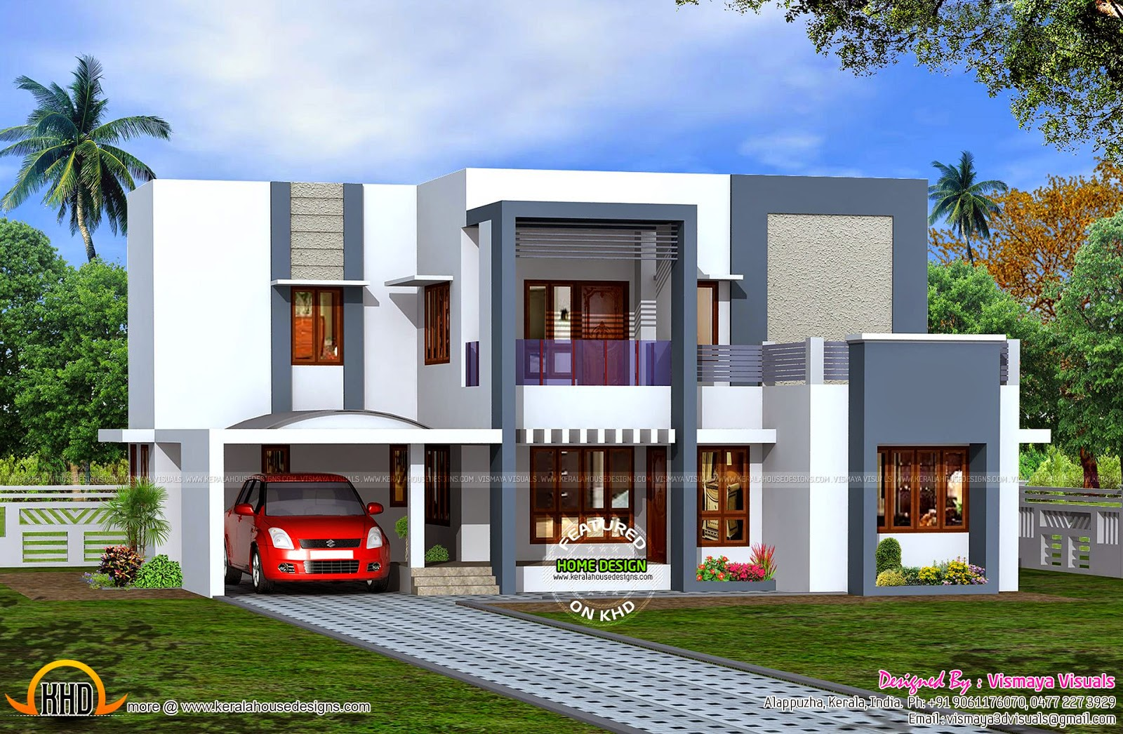 Absolute flat roof house kerala home design and floor plans for Kerala home design flat roof elevation
