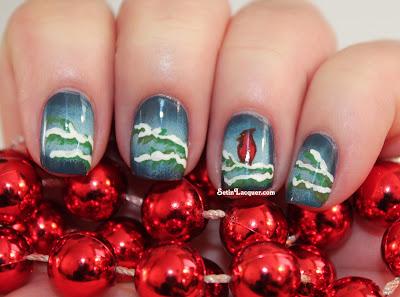 Holiday nail art - Cardinal winter scene