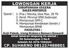 Lowongan Kerja Sales Motoris Palembang
