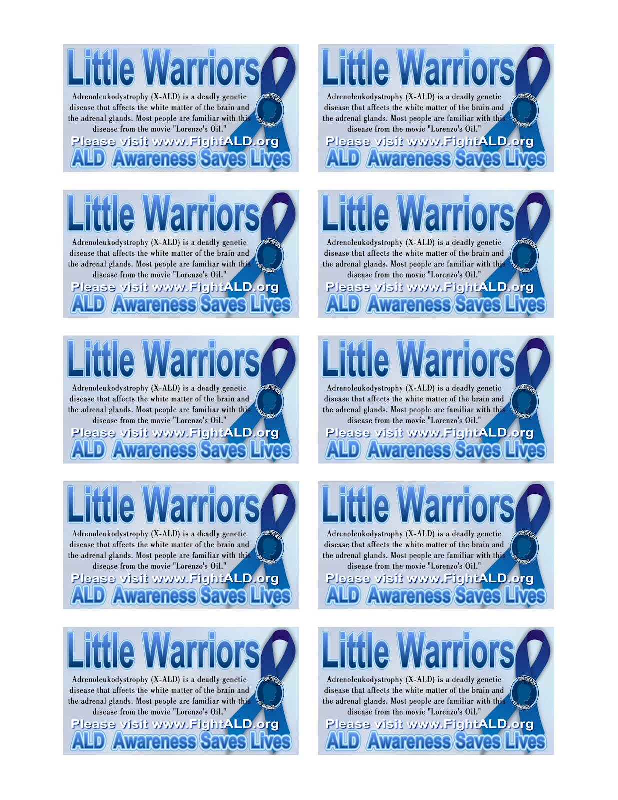 Little Warriors: Free ALD information Awareness cards