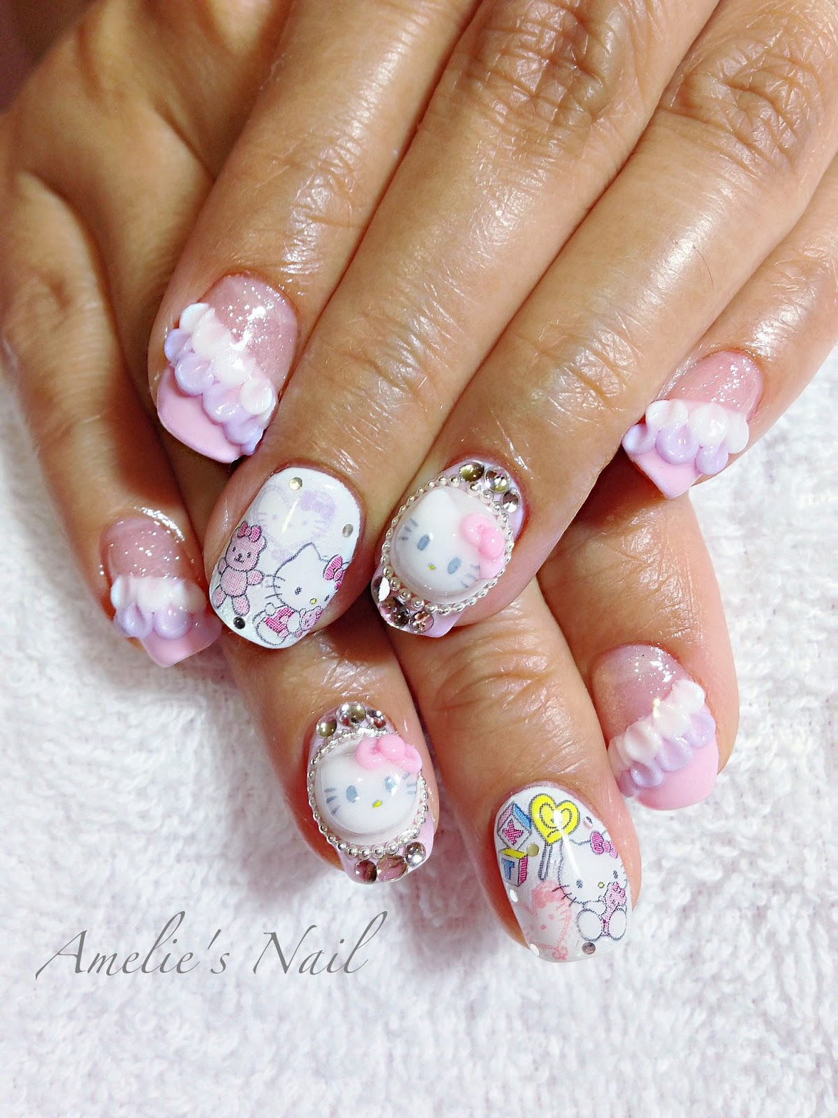 Hello kitty nail designs red color