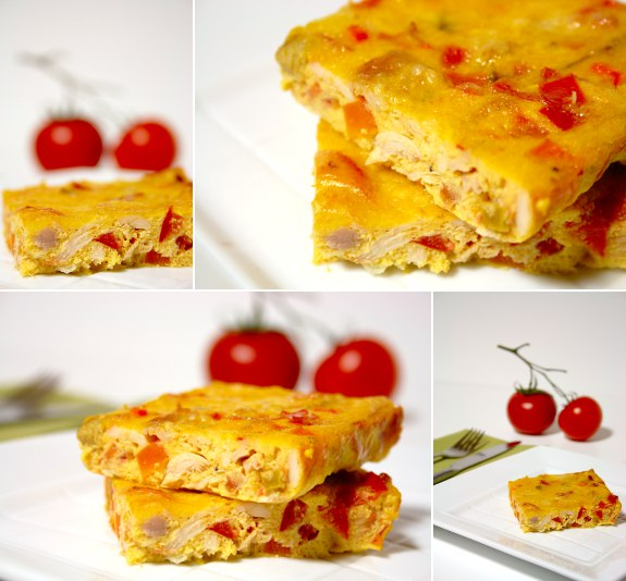 Chicken with tomato and pepper frittata