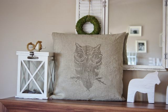 poduszka z grafiką sowy, poszewka z lnu