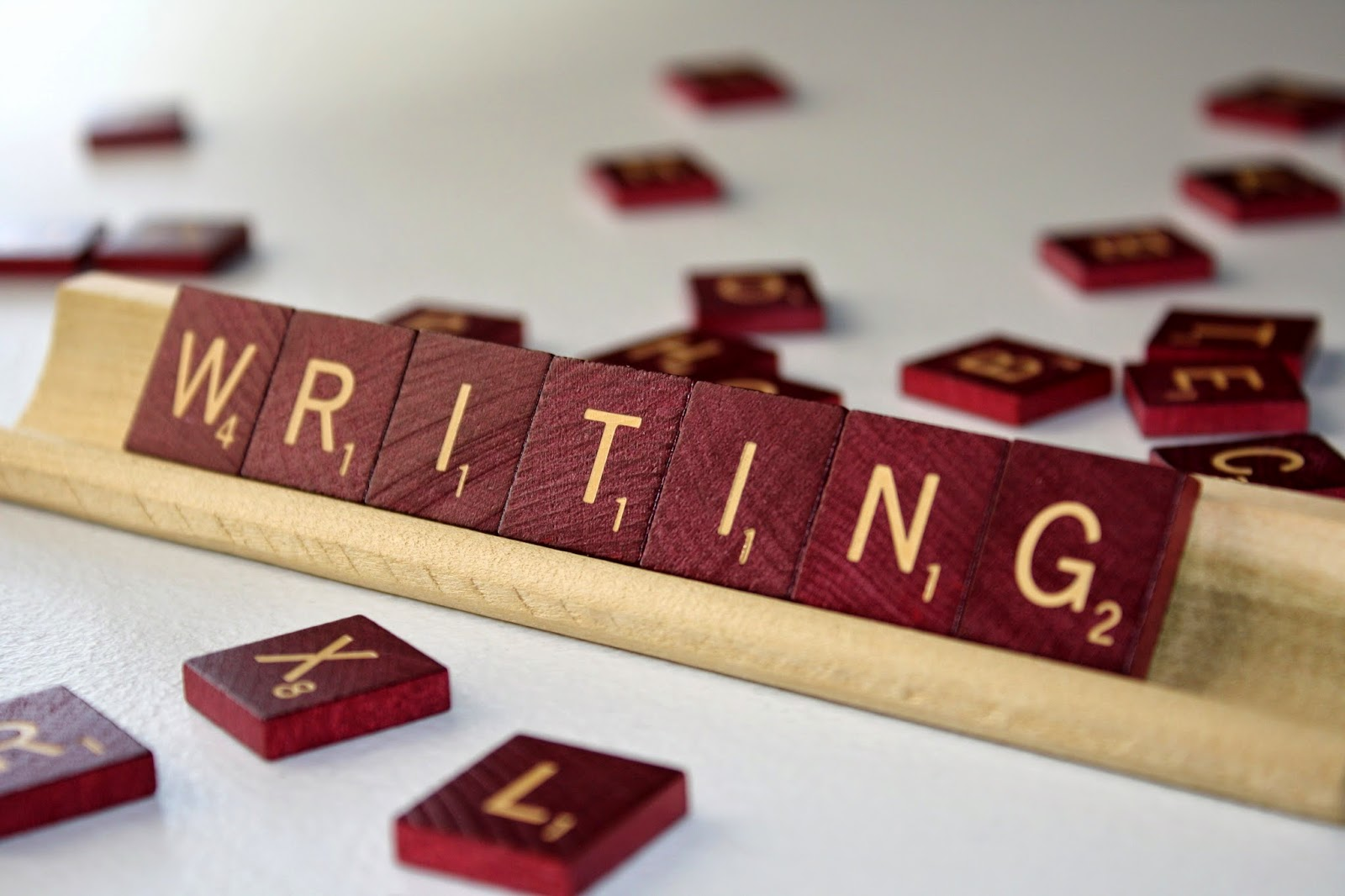 "The word ""writing"" in Scrabble blocks"
