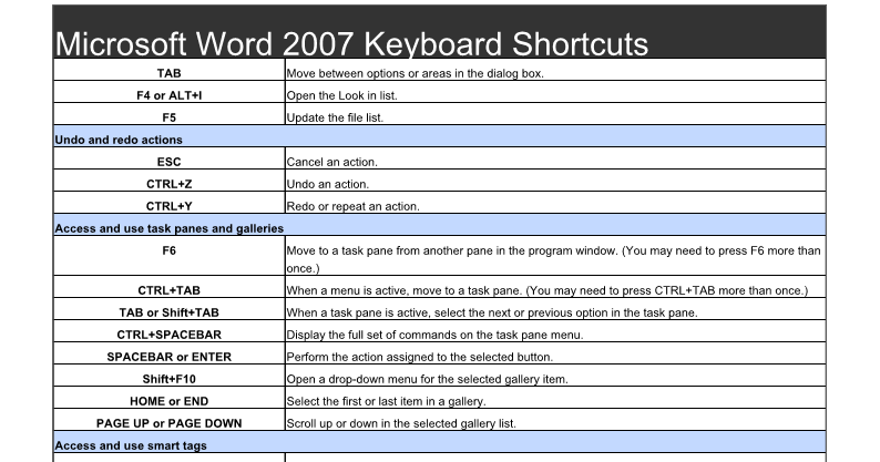 ms word 2007 shortcut keys