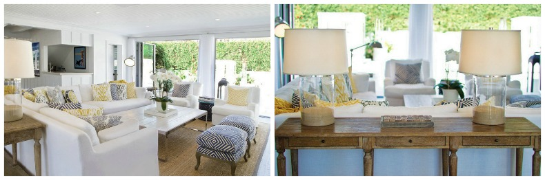 White slipcover sofa and chairs, navy and white, weathered wood accents in this beach house.