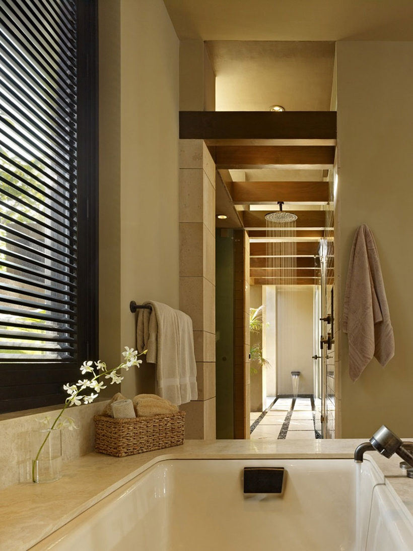 Bathroom details in the Gorgeous modern stone house on the beach