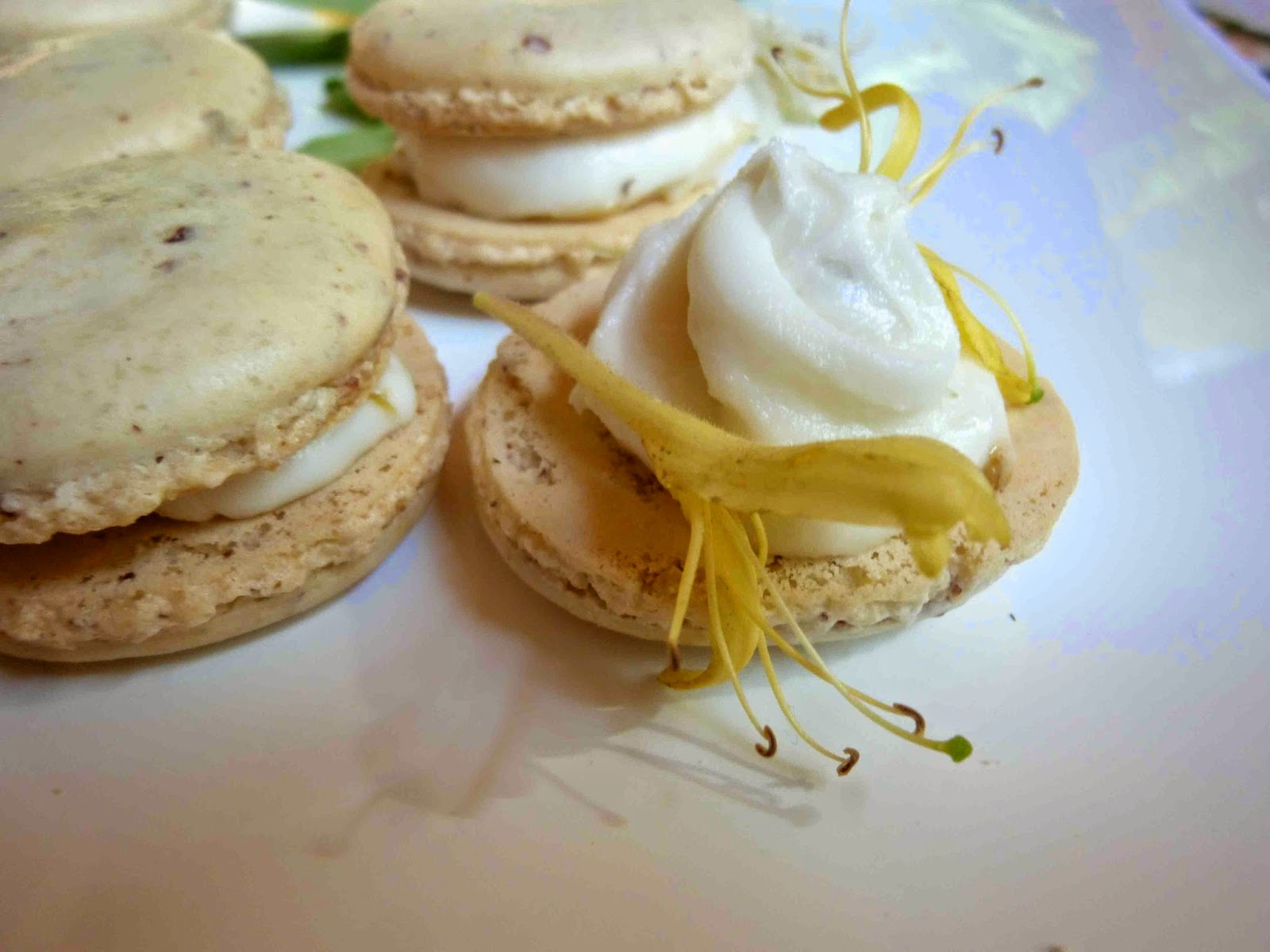... , sweet honeysuckle buttercream wrapped in a vanilla macarons