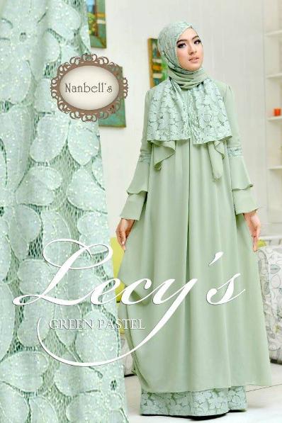 Koleksi Busana Muslim Wanita Kombinasi Renda Brokat