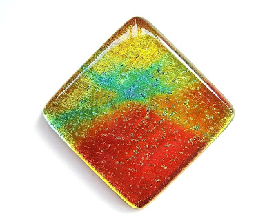 Orange, Teal, Yellow Warm Lava Dichroic Glass Tile