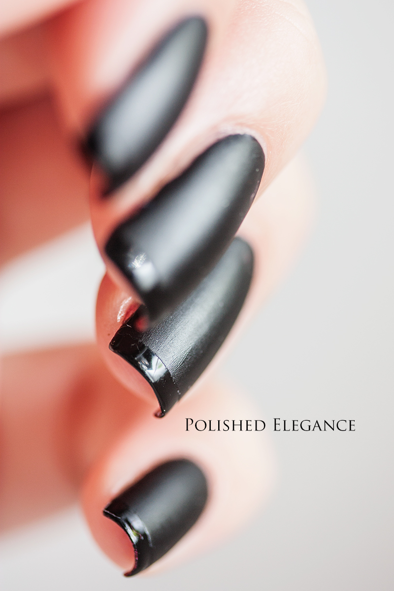 - Lady In Black nail polish black matte nails shiny glossy tips nail
