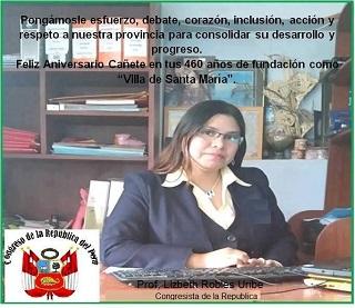 CONGRESISTA DE LA REPÚBLICA, LIC. LIZBETH ROBLES URIBE