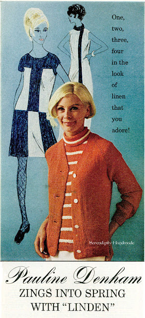 vintage ad, yarn, linen, color-block dresses, 1960s, Serendipity Handmade