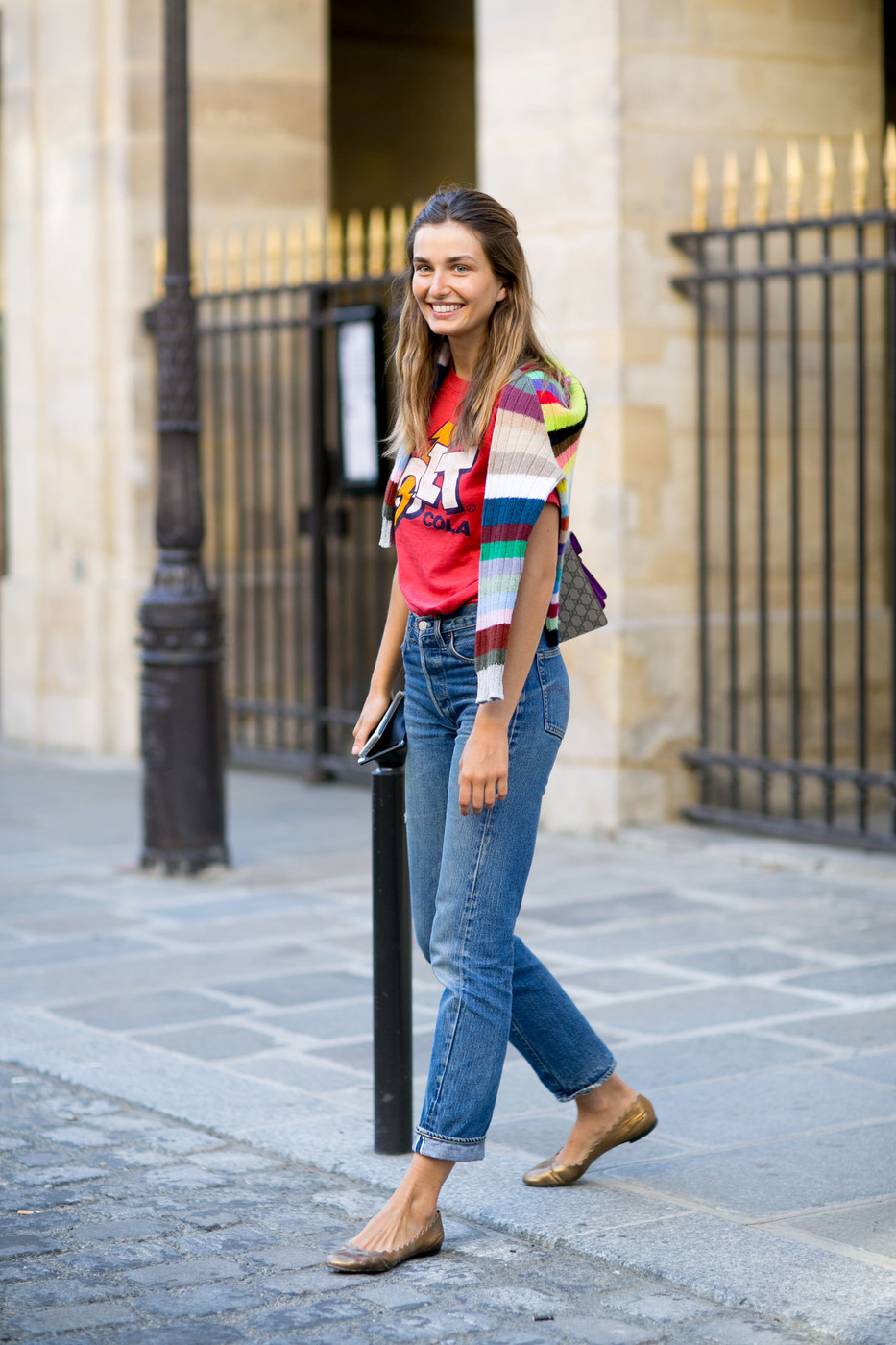 pfw street style andreea diaconu bright look the front row view. Black Bedroom Furniture Sets. Home Design Ideas