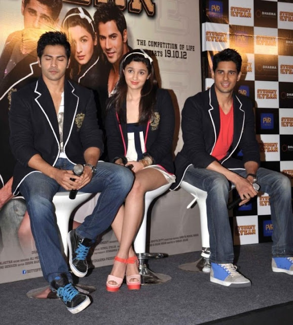 Alia Bhatt at Student of the year trailer launch in a sexy short skirt