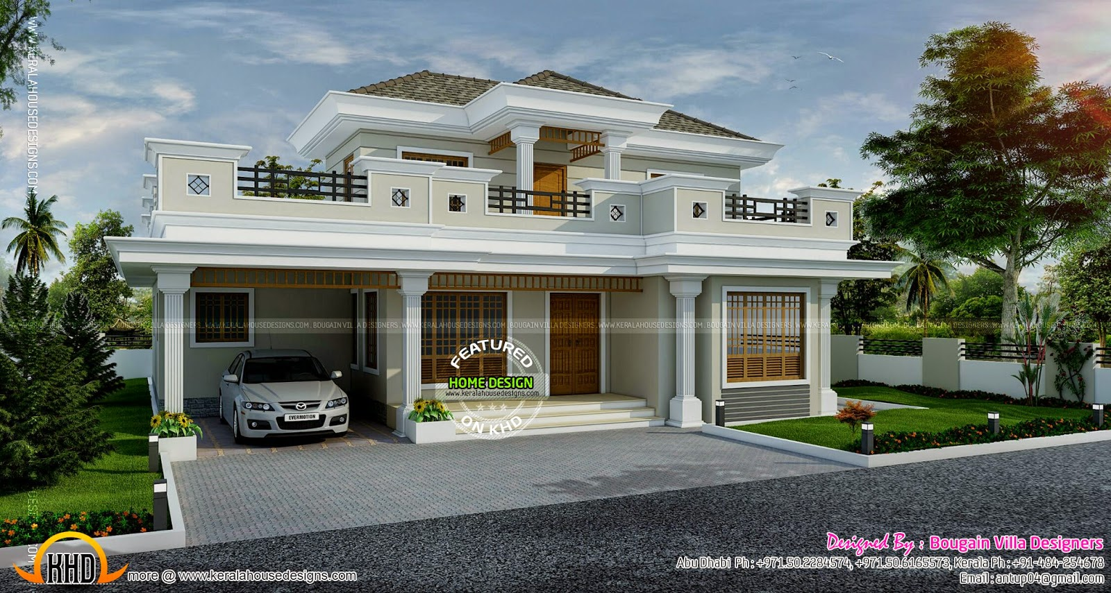 Stylish house exterior kerala home design and floor plans for One level house exterior design