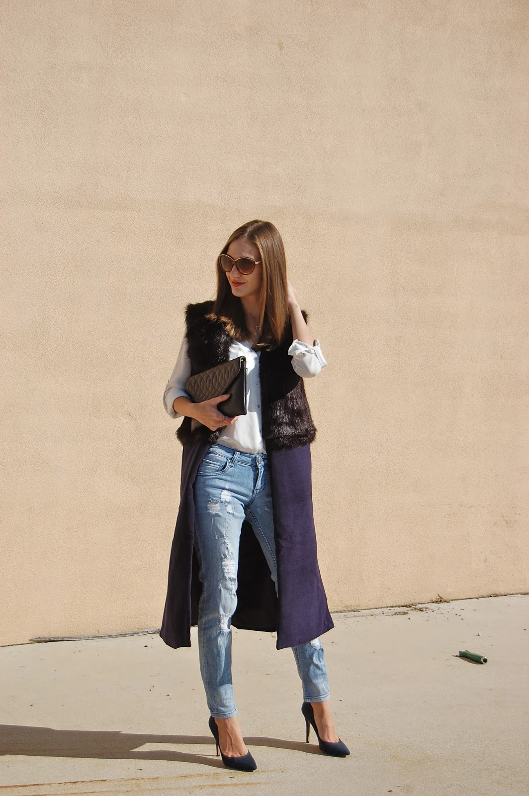 Wearing Sheinside Black Contrast Fur Sleeveless Split Coat, Distressed Boyfriends, Charles by Charles David Navy Blue Suede Heels
